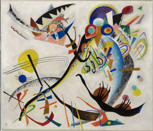Wassily Kandinsky (Russian, 1866-1944). Blue Segment (Blaues Segment), 1921. Oil on canvas. 47 1/2 x 55 1/8 in. (120.6 x 140.1 cm). Solomon R. Guggenheim Founding Collection 49.1181. Solomon R. Guggenheim Museum, New York. © 2009 Artist Rights Society (ARS), New York/ADAGP, Paris