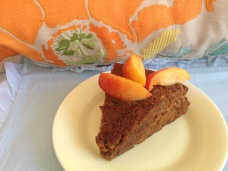 Gluten free Moroccan Date Cake with fresh peaches from Pranaful.com