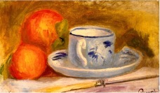 Still life with tea cup and peaches